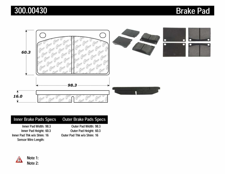 CENTRIC PARTS - Premium Semi-Met Pads w/Shims (Front) - CEC 300.00430