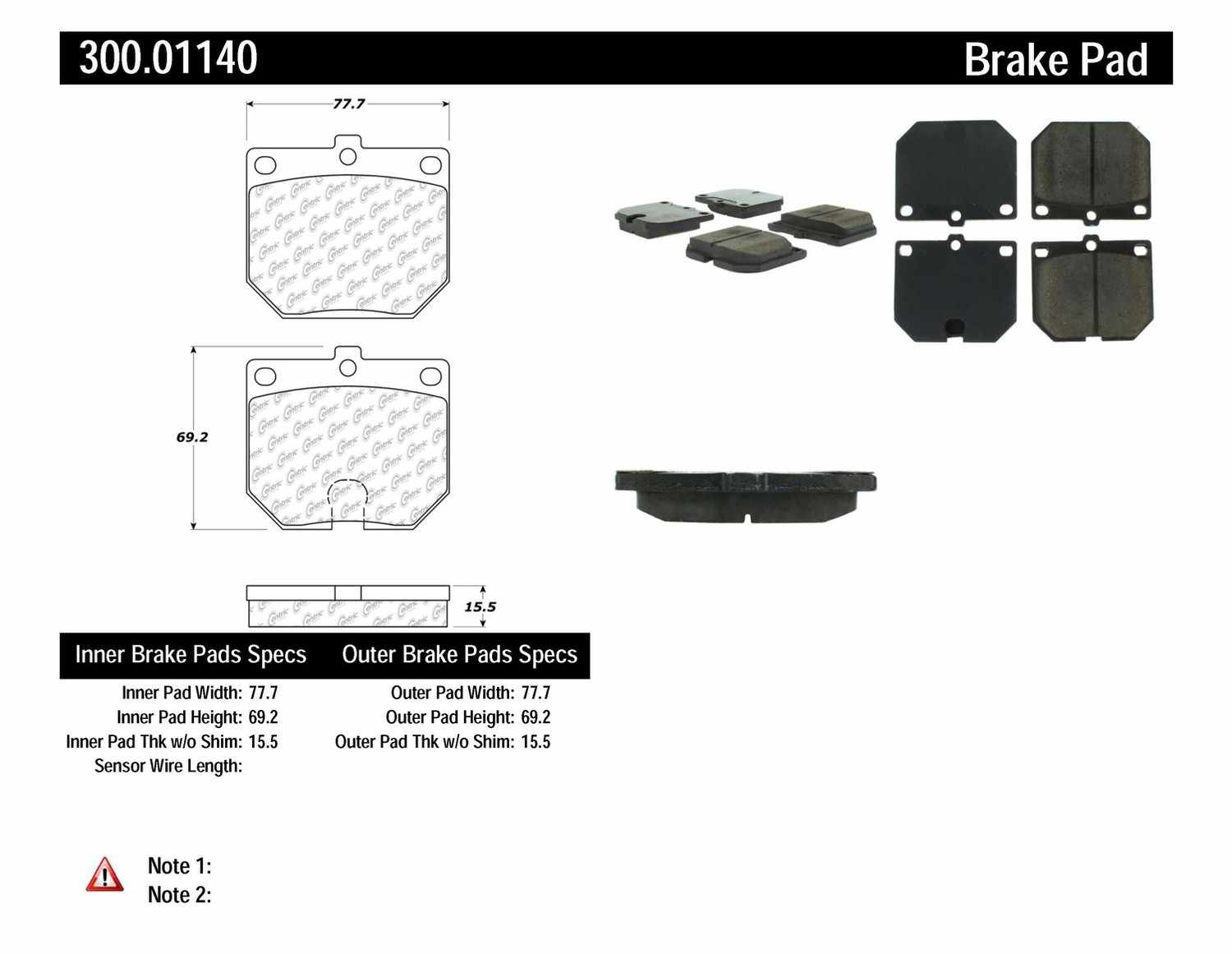 CENTRIC PARTS - Premium Semi-Met Pads w/Shim and Hardware (Front) - CEC 300.01140
