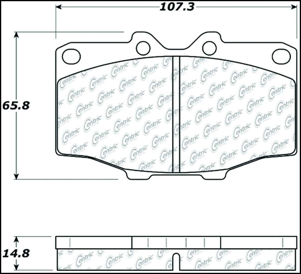 CENTRIC PARTS - Premium Semi-Met Pads w/Shims (Front) - CEC 300.01370