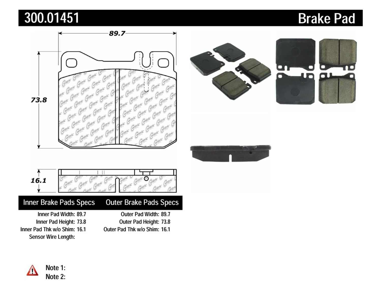 CENTRIC PARTS - Premium Semi-Met Pads w/Shims (Front) - CEC 300.01451