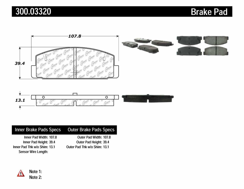 CENTRIC PARTS - Premium Semi-Met Pads w/Shims (Rear) - CEC 300.03320