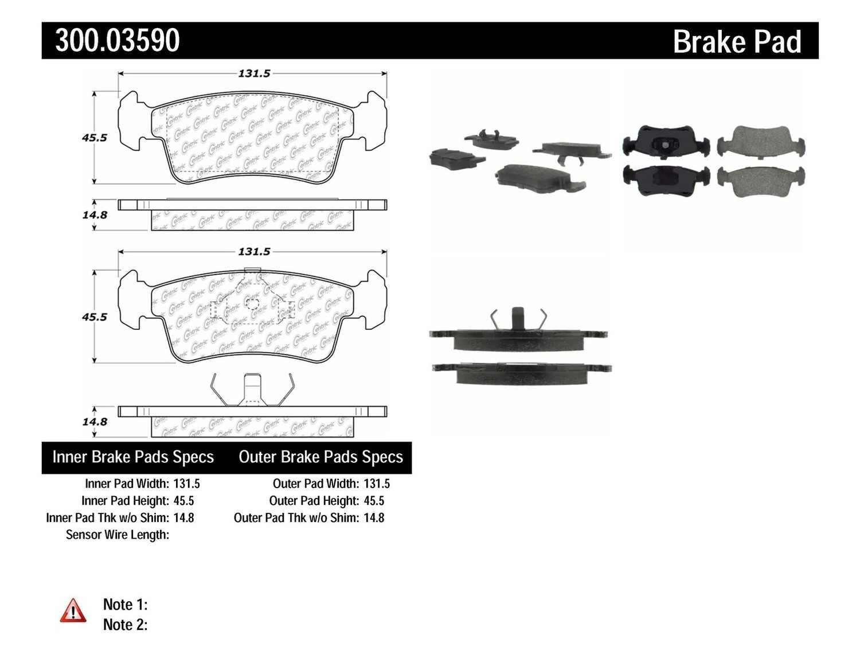 CENTRIC PARTS - Premium Semi-Met Pads w/Shim & Hardware Preferred (Front) - CEC 300.03590