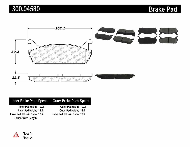 CENTRIC PARTS - Premium Semi-Met Pads w/Shims (Rear) - CEC 300.04580