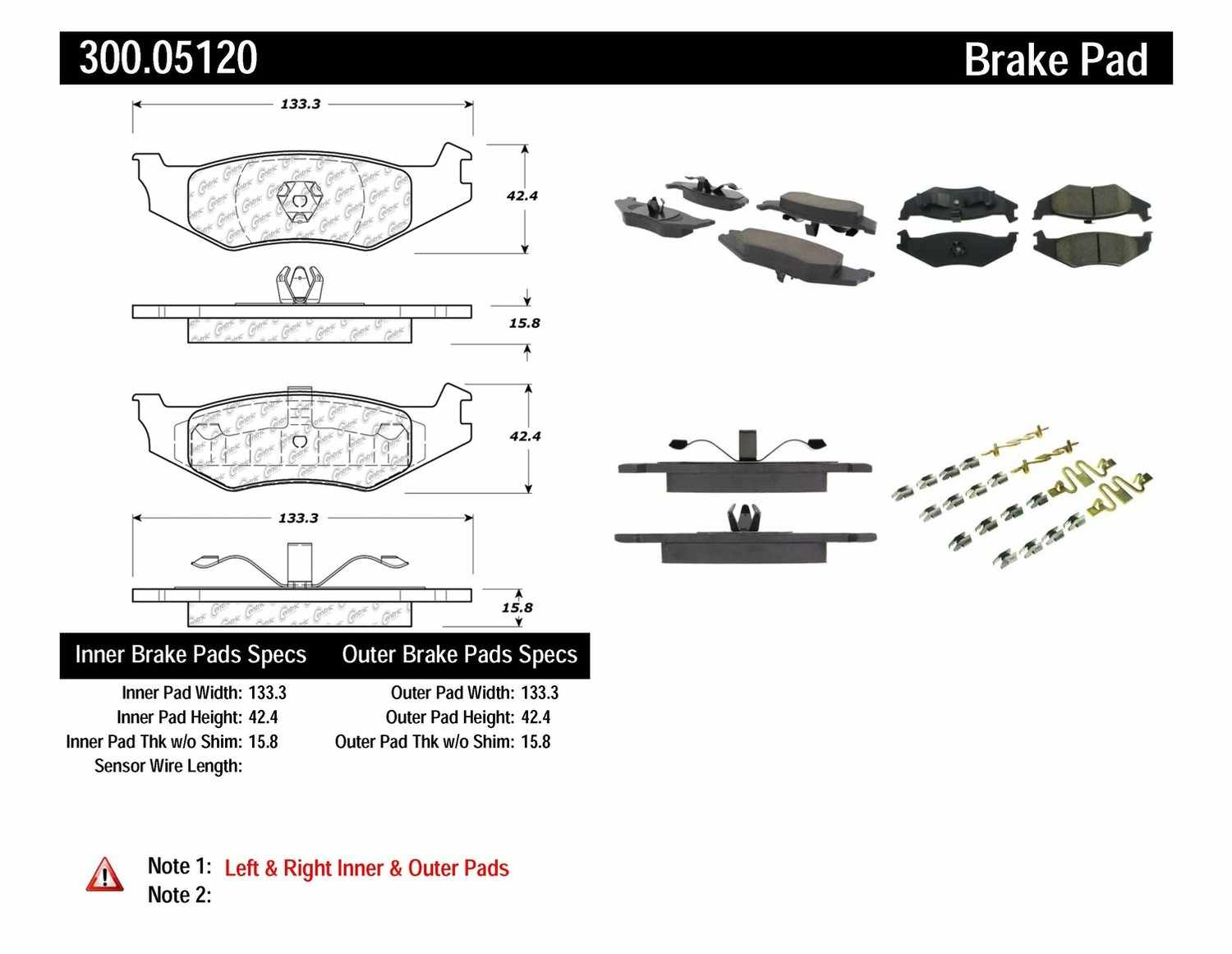 CENTRIC PARTS - Premium Semi-Met Pads w/Shim and Hardware (Rear) - CEC 300.05120