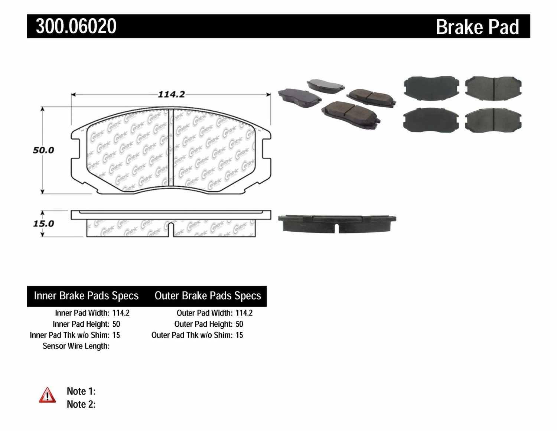 CENTRIC PARTS - Premium Semi-Met Pads w/Shims (Front) - CEC 300.06020