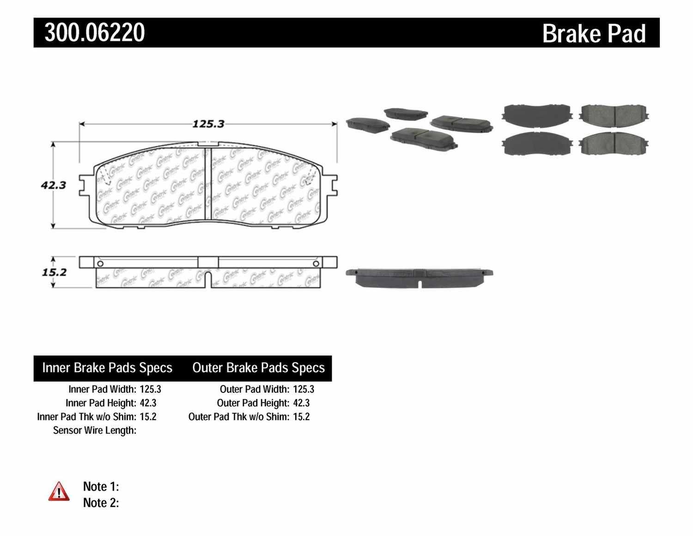 CENTRIC PARTS - Premium Semi-Met Pads w/Shims (Rear) - CEC 300.06220