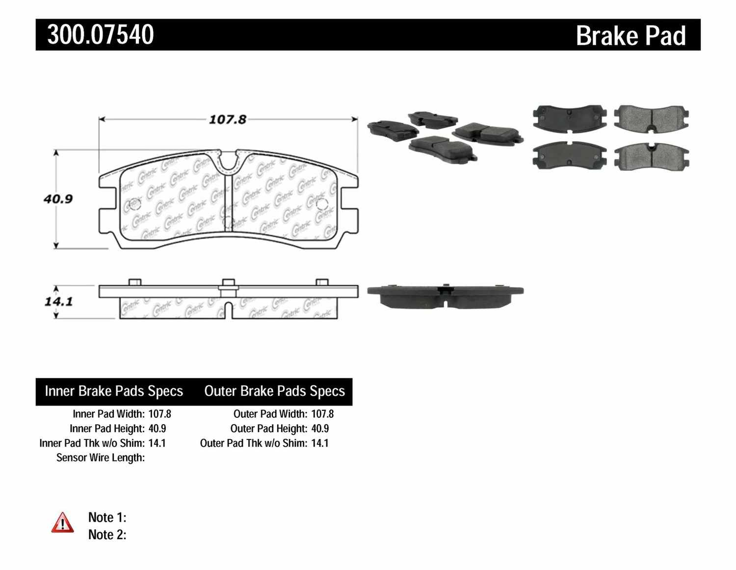 CENTRIC PARTS - Premium Semi-Met Pads w/Shim and Hardware (Rear) - CEC 300.07540