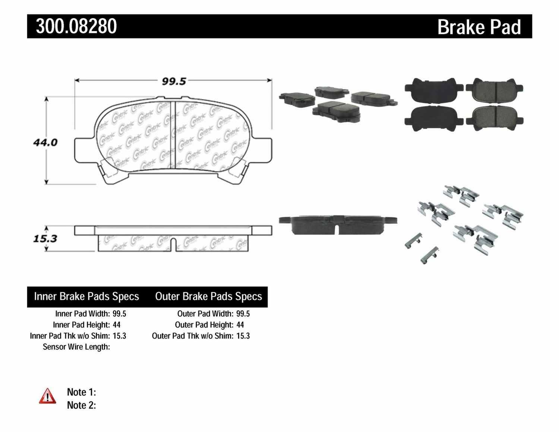 Disc Brake Pad Set-Premium Semi-Met Pads w//Shim and Hardware Centric