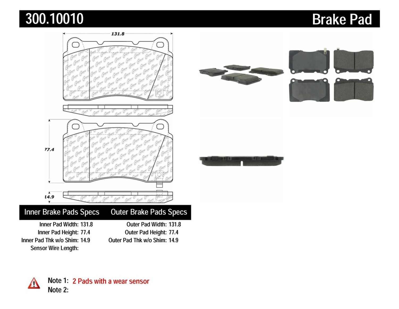 CENTRIC PARTS - Premium Semi-Met Pads w/Shims (Front) - CEC 300.10010