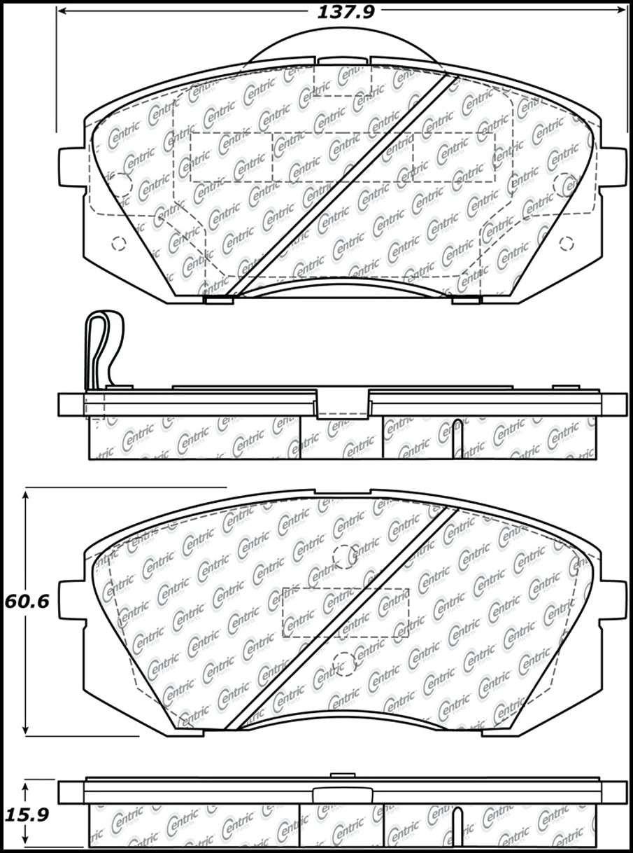 CENTRIC PARTS - Premium Semi-Met Pads w/Shims (Front) - CEC 300.12950