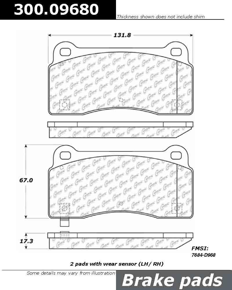 CENTRIC PARTS - Premium Semi-Met Pads w/Shim and Hardware - CEC 300.09680