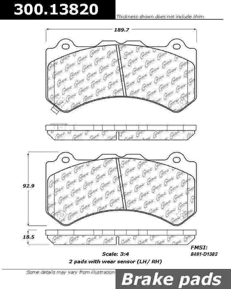 CENTRIC PARTS - Premium Semi-Met Pads w/Shims - CEC 300.13820