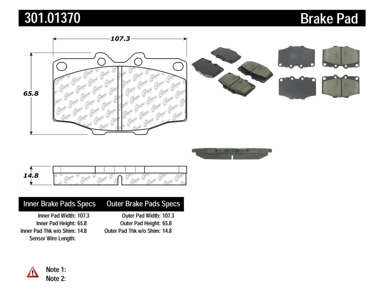 CENTRIC PARTS - Premium Ceramic Pads w/Shims & Hardware (Front) - CEC 301.01370