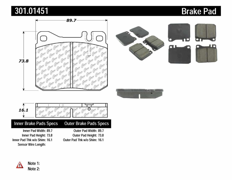 CENTRIC PARTS - Premium Ceramic Pads w/Shims (Front) - CEC 301.01451