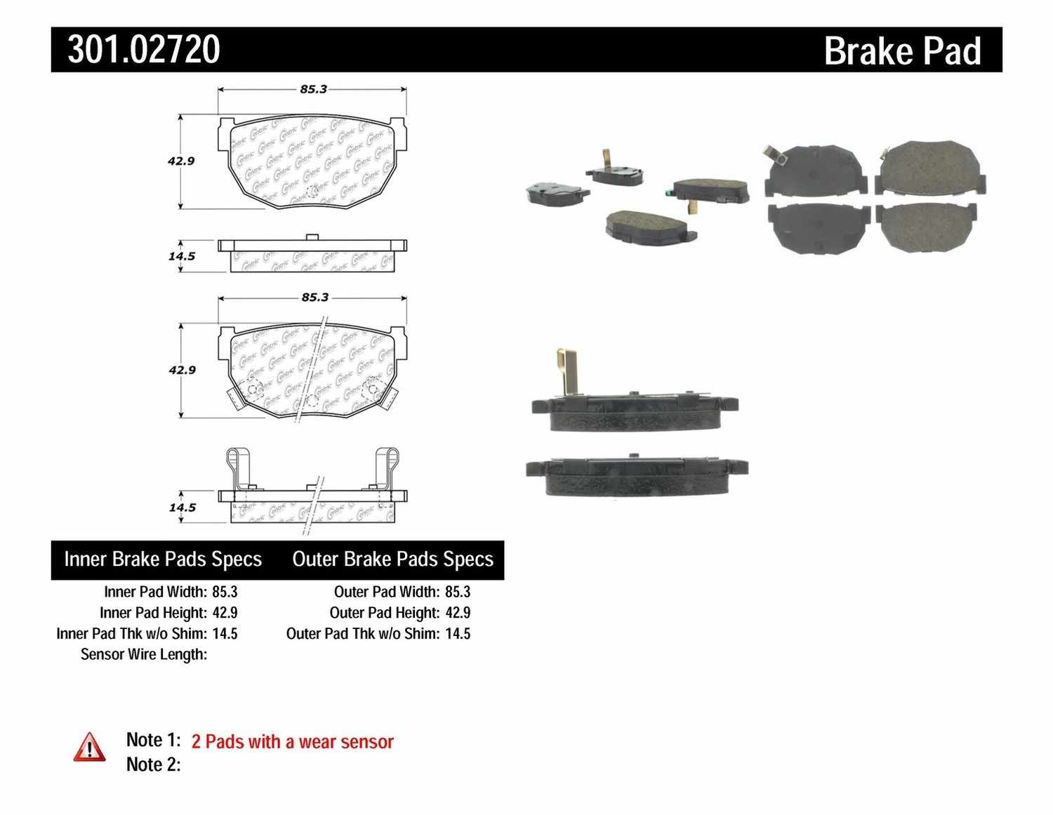 CENTRIC PARTS - Premium Ceramic Pads w/Shims & Hardware (Rear) - CEC 301.02720