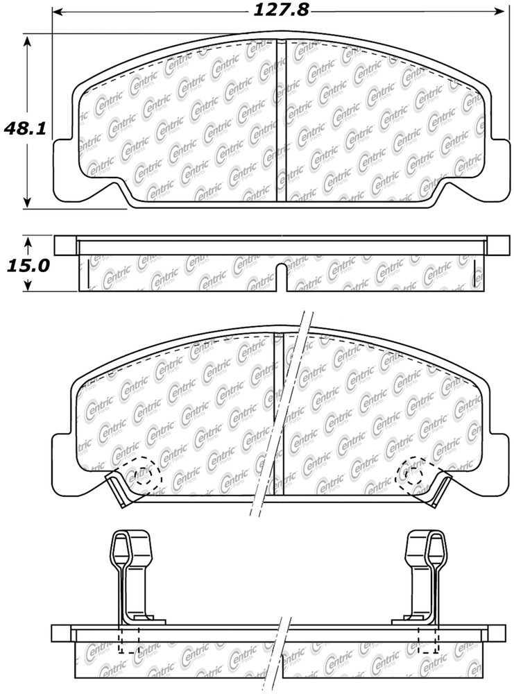 CENTRIC PARTS - Premium Ceramic Pads w/Shims & Hardware (Front) - CEC 301.02730
