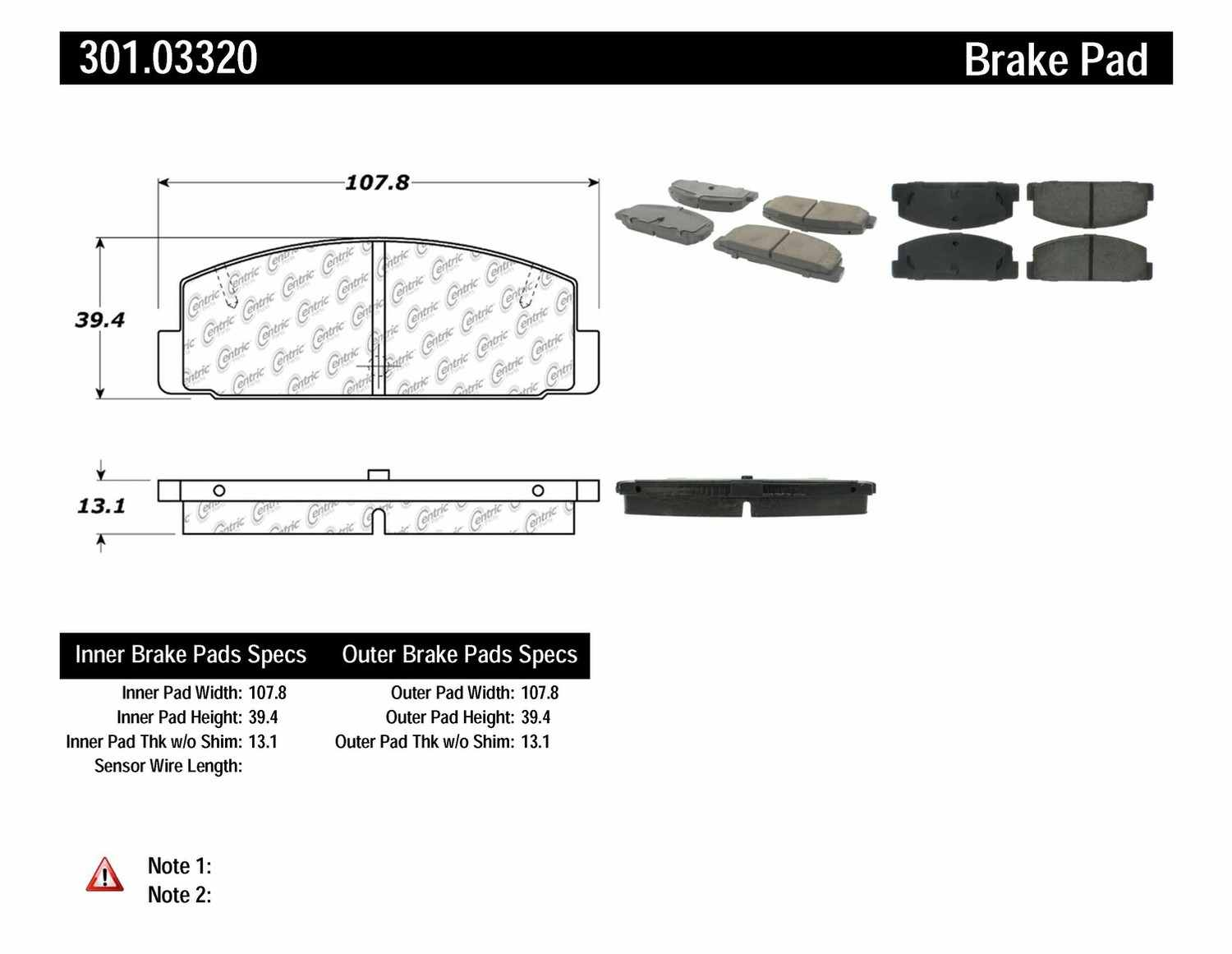 CENTRIC PARTS - Premium Ceramic Pads w/Shims & Hardware (Rear) - CEC 301.03320