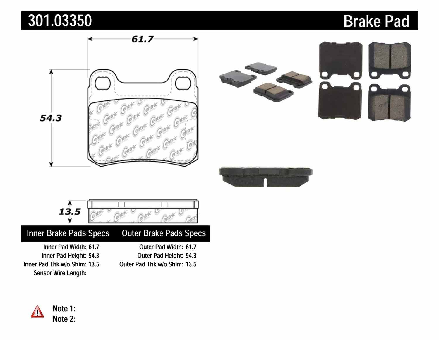 CENTRIC PARTS - Premium Ceramic Pads w/Shims (Rear) - CEC 301.03350
