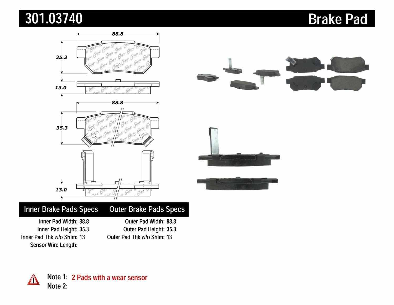 CENTRIC PARTS - Premium Ceramic Pads w/Shims & Hardware (Rear) - CEC 301.03740
