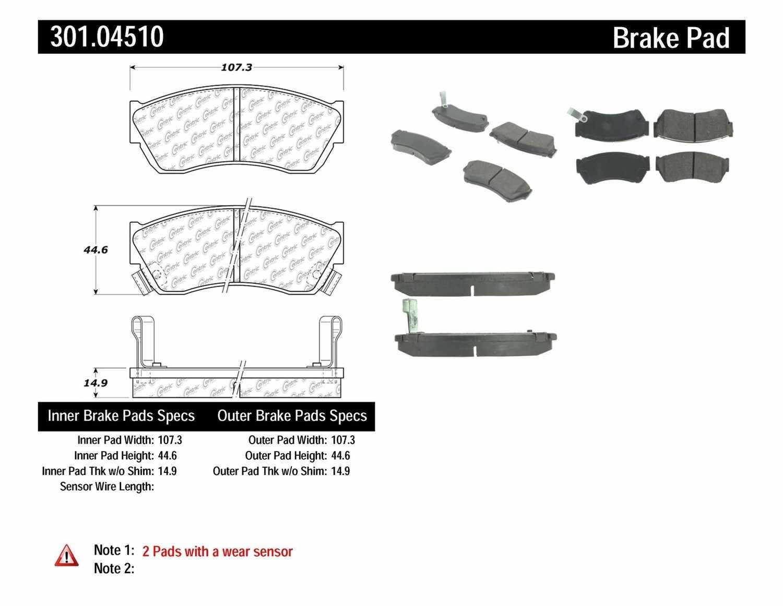 CENTRIC PARTS - Premium Ceramic Pads w/Shims & Hardware (Front) - CEC 301.04510