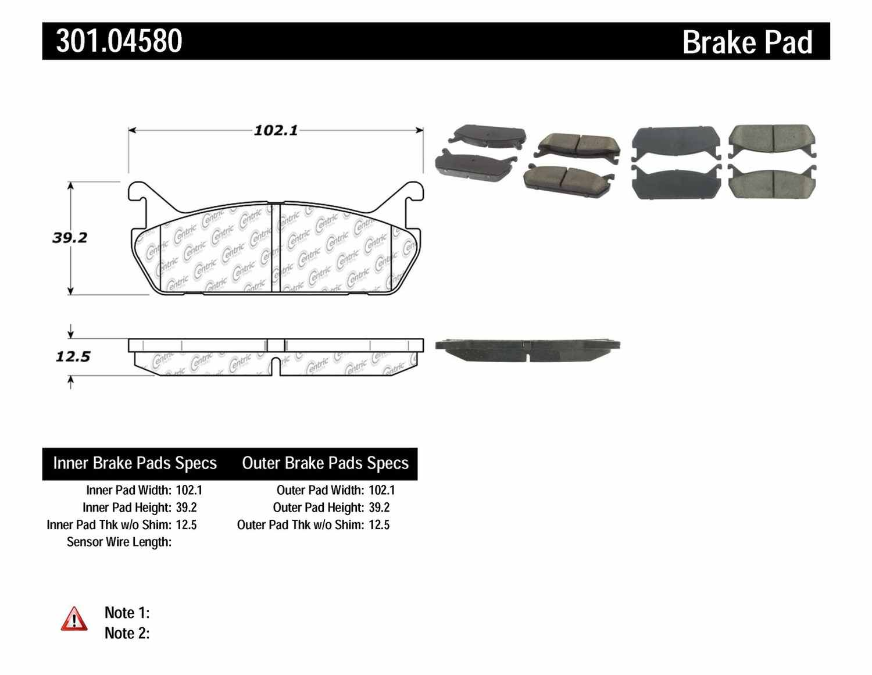 CENTRIC PARTS - Premium Ceramic Pads w/Shims & Hardware (Rear) - CEC 301.04580