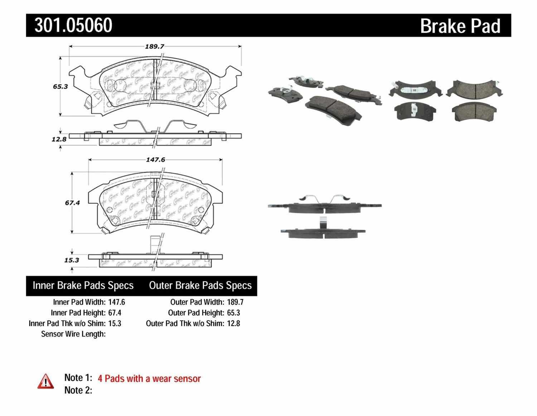 CENTRIC PARTS - Premium Ceramic Pads w/Shims & Hardware (Front) - CEC 301.05060
