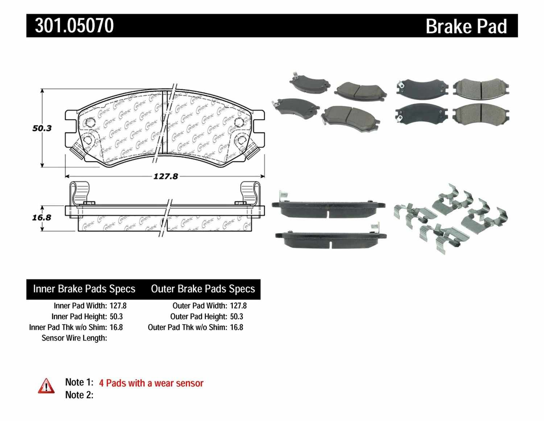 CENTRIC PARTS - Premium Ceramic Pads w/Shims & Hardware (Front) - CEC 301.05070