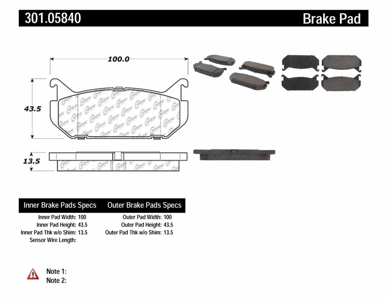 CENTRIC PARTS - Premium Ceramic Pads w/Shims & Hardware (Rear) - CEC 301.05840