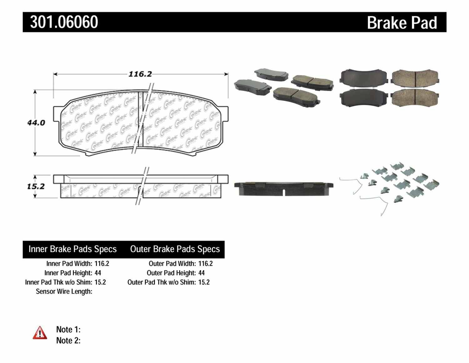 CENTRIC PARTS - Premium Ceramic Pads w/Shims & Hardware (Rear) - CEC 301.06060