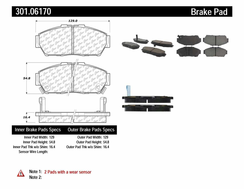 CENTRIC PARTS - Premium Ceramic Pads w/Shims & Hardware (Front) - CEC 301.06170