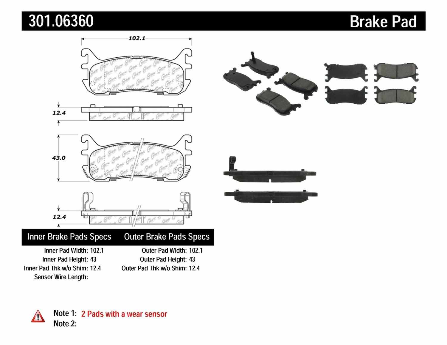 CENTRIC PARTS - Premium Ceramic Pads w/Shims & Hardware (Rear) - CEC 301.06360