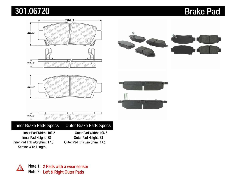 CENTRIC PARTS - Premium Ceramic Pads w/Shims & Hardware (Rear) - CEC 301.06720
