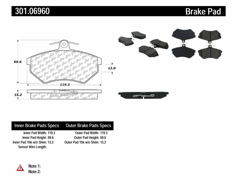 CENTRIC PARTS - Premium Ceramic Pads w/Shims & Hardware (Front) - CEC 301.06960