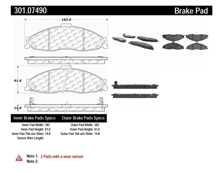 CENTRIC PARTS - Premium Ceramic Pads w/Shims & Hardware (Front) - CEC 301.07490