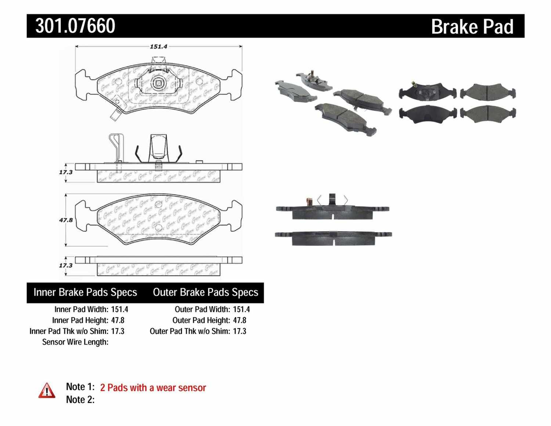CENTRIC PARTS - Premium Ceramic Pads w/Shims & Hardware (Front) - CEC 301.07660