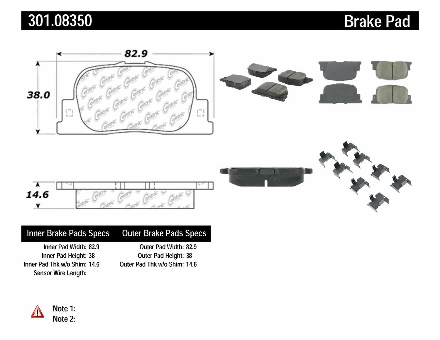 CENTRIC PARTS - Premium Ceramic Pads w/Shims & Hardware (Rear) - CEC 301.08350