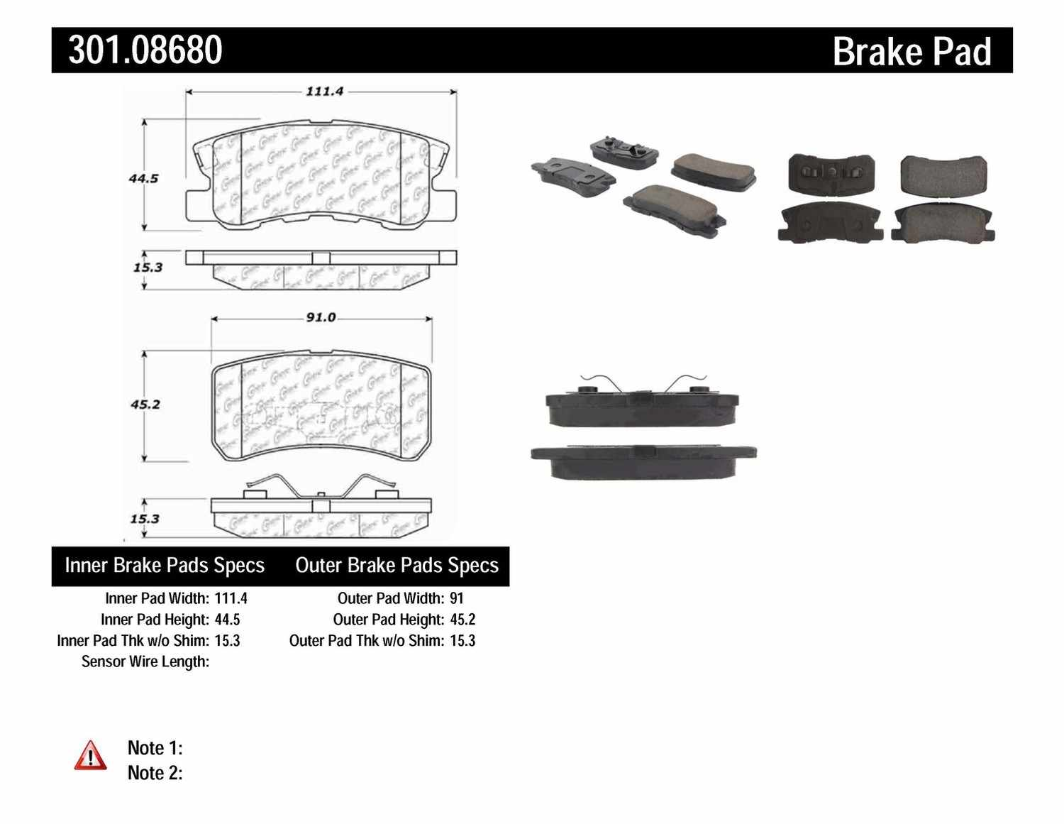 CENTRIC PARTS - Premium Ceramic Pads w/Shims & Hardware (Rear) - CEC 301.08680