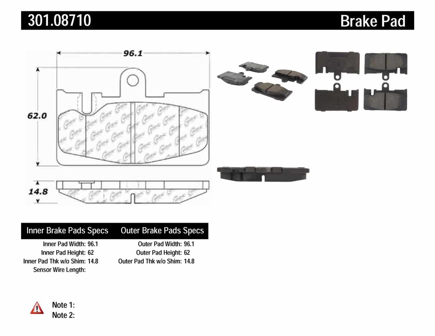CENTRIC PARTS - Premium Ceramic Pads w/Shims (Rear) - CEC 301.08710