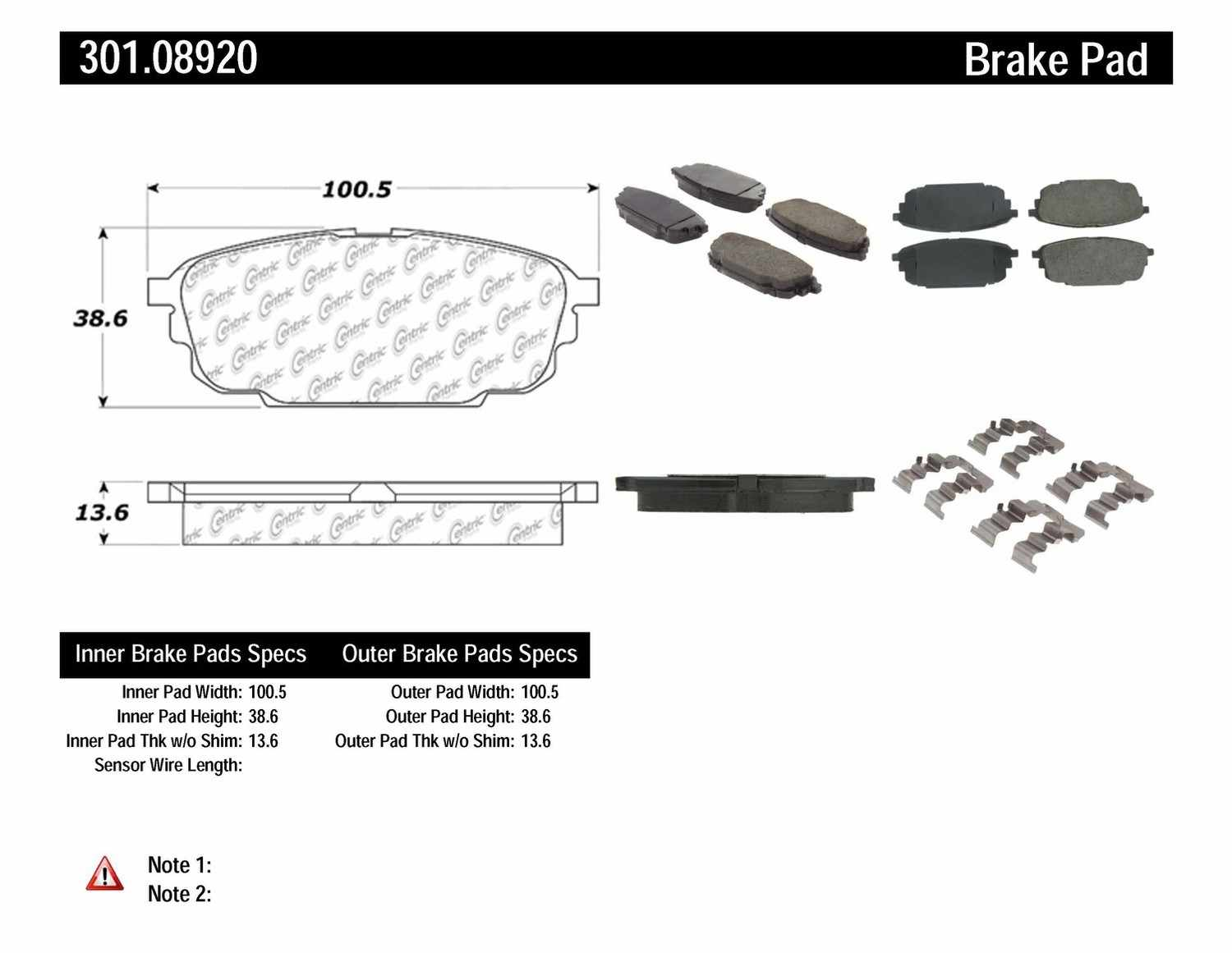 CENTRIC PARTS - Premium Ceramic Pads w/Shims & Hardware (Rear) - CEC 301.08920