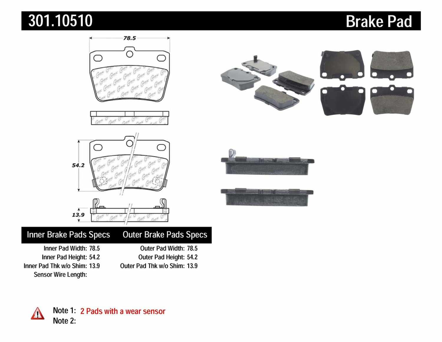 CENTRIC PARTS - Premium Ceramic Pads w/Shims & Hardware (Rear) - CEC 301.10510
