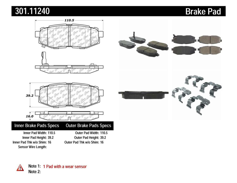 CENTRIC PARTS - Premium Ceramic Pads w/Shims & Hardware (Rear) - CEC 301.11240
