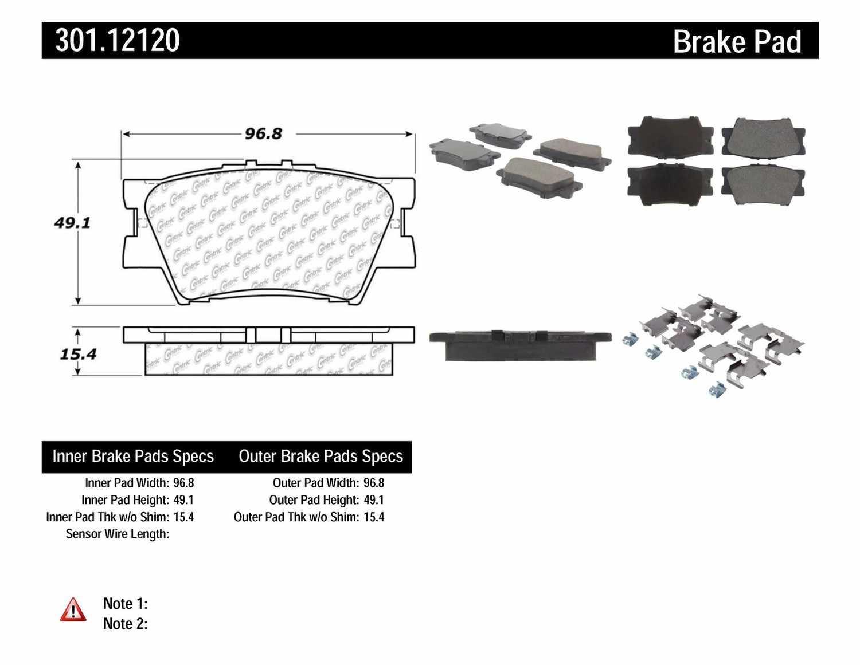 CENTRIC PARTS - Premium Ceramic Pads w/Shims & Hardware (Rear) - CEC 301.12120
