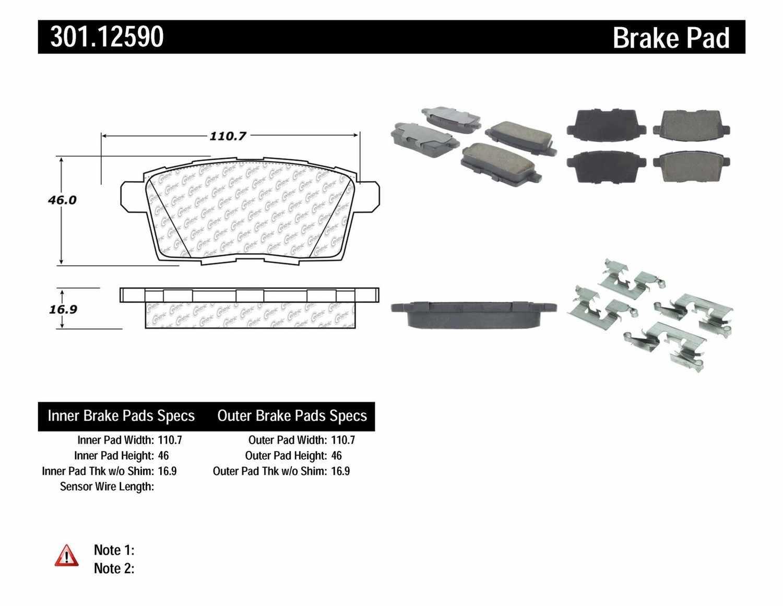 CENTRIC PARTS - Premium Ceramic Pads w/Shims & Hardware (Rear) - CEC 301.12590