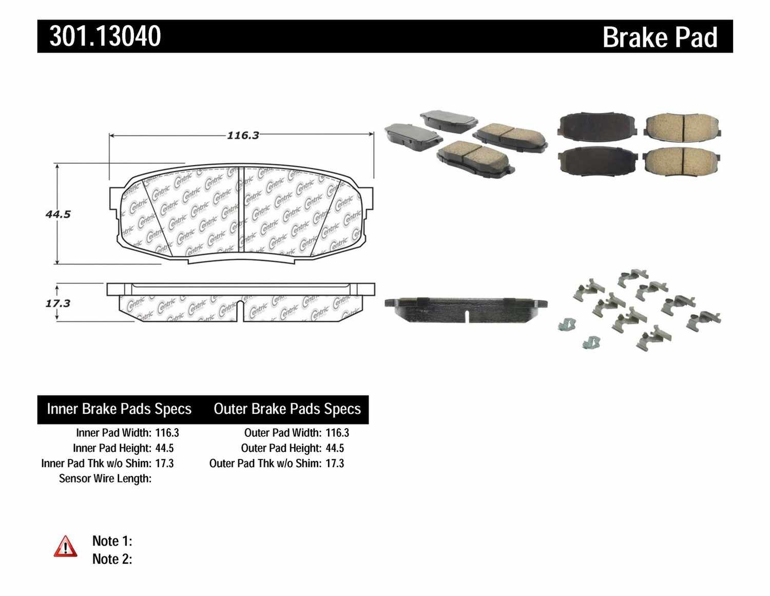 CENTRIC PARTS - Premium Ceramic Pads w/Shims & Hardware (Rear) - CEC 301.13040