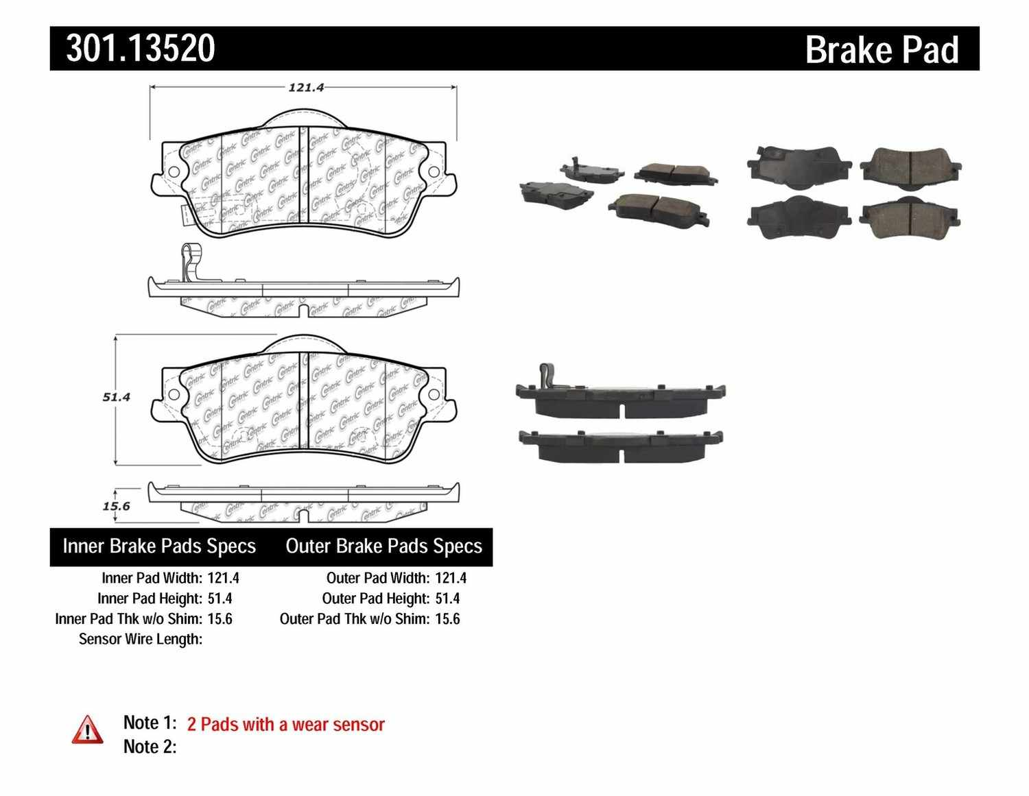 CENTRIC PARTS - Premium Ceramic Pads w/Shims & Hardware (Rear) - CEC 301.13520