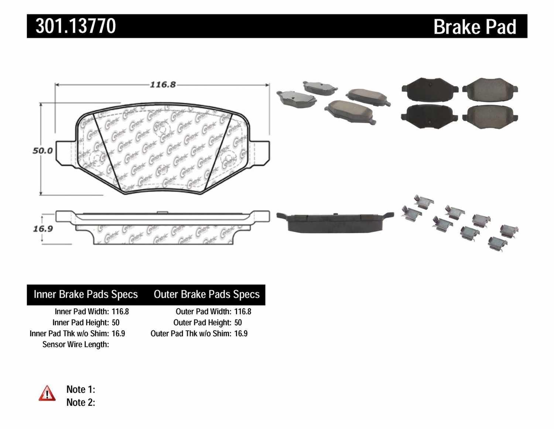 CENTRIC PARTS - Premium Ceramic Pads w/Shims & Hardware (Rear) - CEC 301.13770