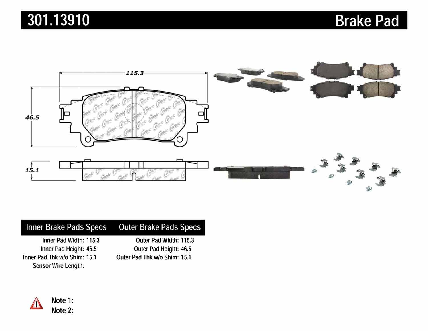 CENTRIC PARTS - Premium Ceramic Pads w/Shims & Hardware (Rear) - CEC 301.13910
