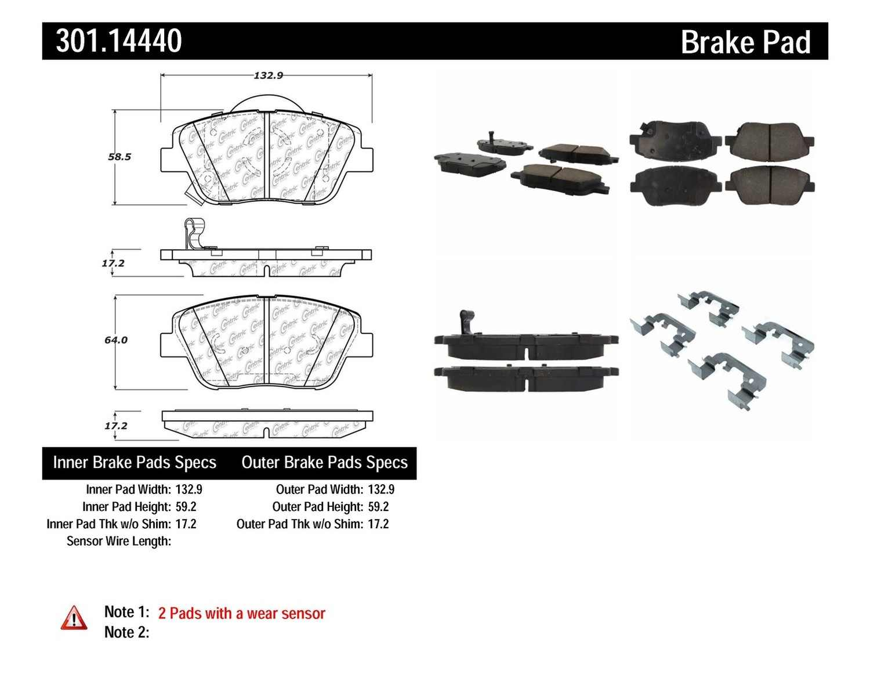 CENTRIC PARTS - Premium Ceramic Pads w/Shims & Hardware (Front) - CEC 301.14440