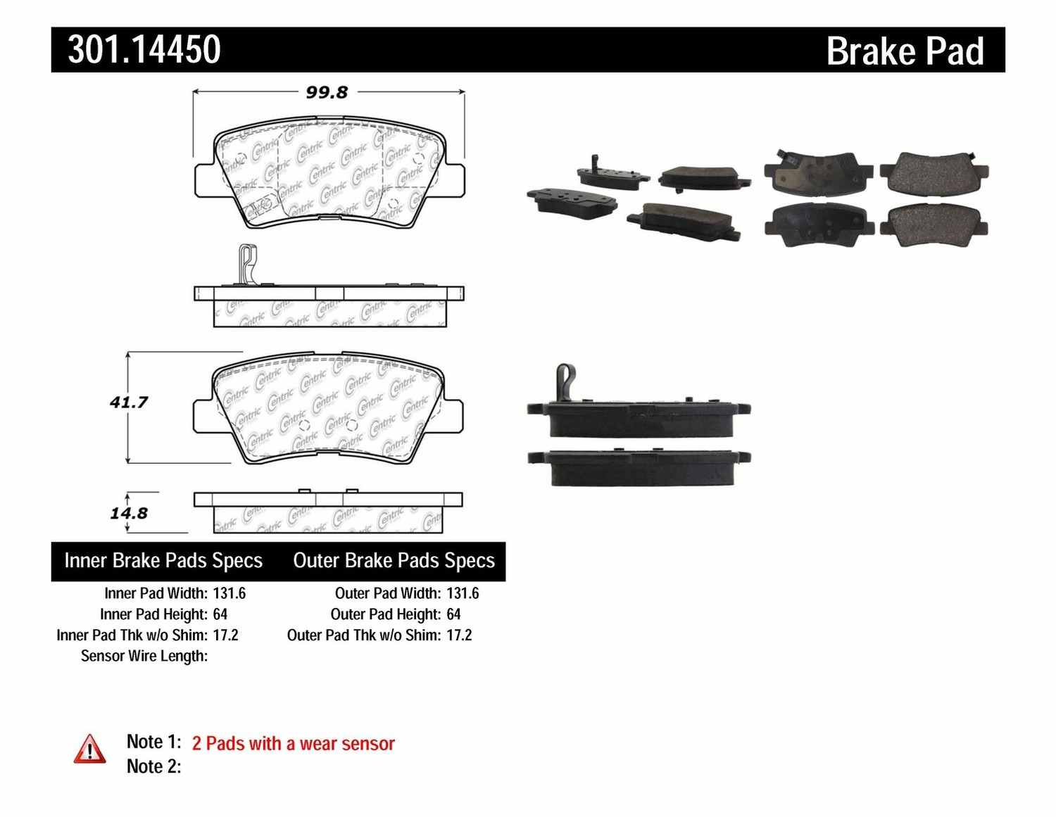 CENTRIC PARTS - Premium Ceramic Pads w/Shims & Hardware (Rear) - CEC 301.14450
