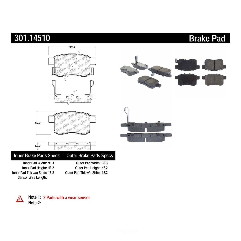 CENTRIC PARTS - Premium Ceramic Pads w/Shims (Rear) - CEC 301.14510